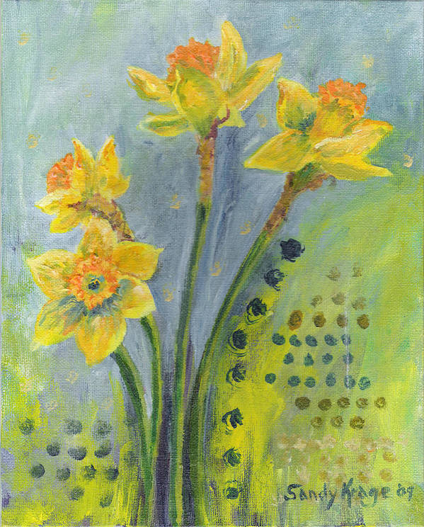Flower Art Print featuring the painting Daffodils II by Sandy Krage