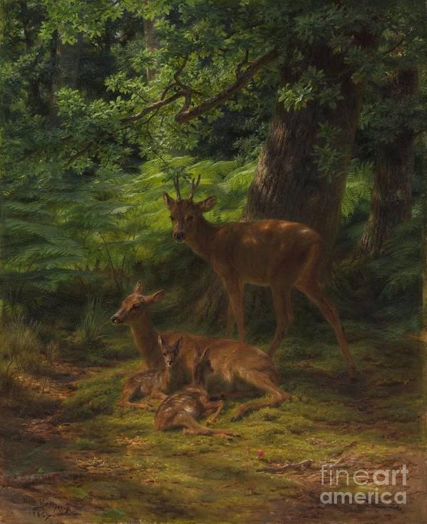 Deer Art Print featuring the painting Deer In Repose by Rosa Bonheur