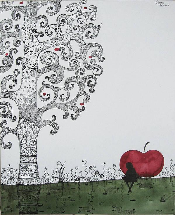 Art Print featuring the drawing Derevo by Berlet Olga