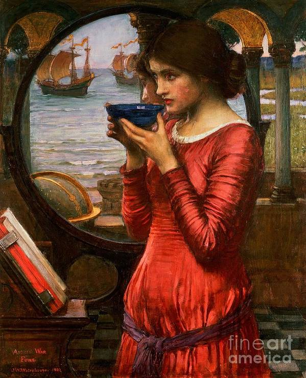 Boat; Globe; Poison; Blue Glass; Pre-raphaelite; Allegorical; Red Dress Print featuring the painting Destiny by John William Waterhouse