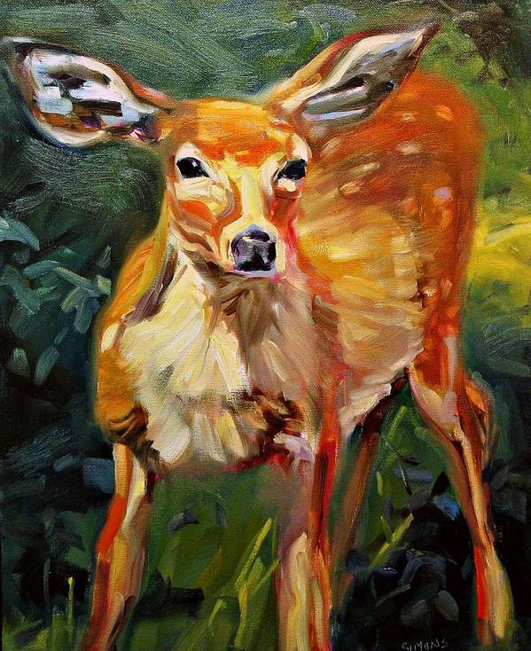 Wildlife Art Print featuring the painting DOE by Brian Simons