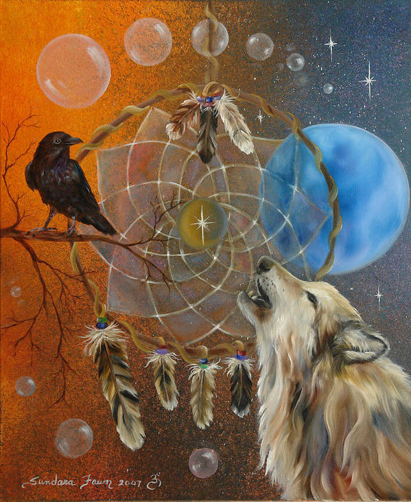 Wolf Art Print featuring the painting Dreams Made Easy by Sundara Fawn