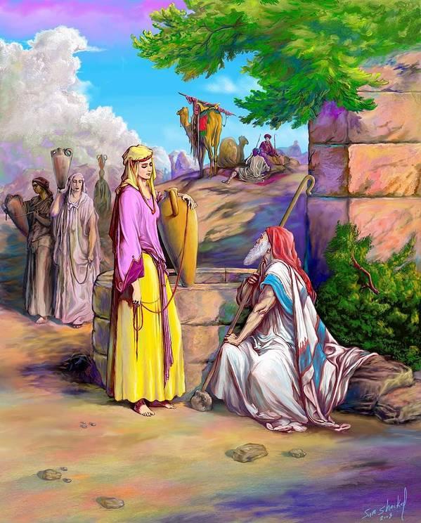 Biblical Art Print featuring the painting Eliezer N Rebekah by Sam Shacked