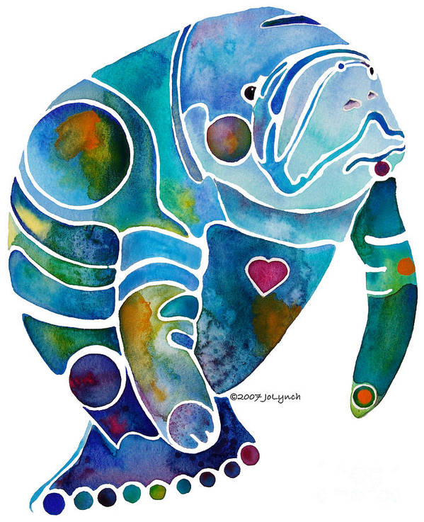 Manatee Art Print featuring the painting Endangered Manatee by Jo Lynch