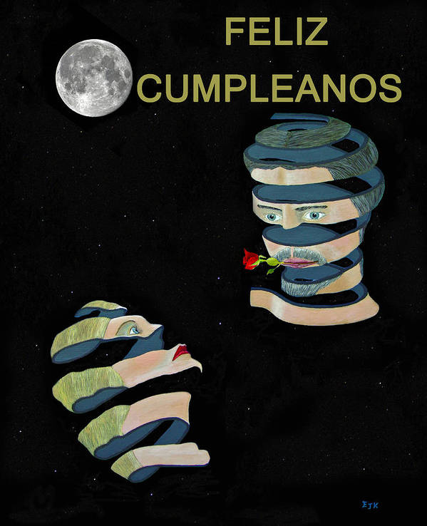 Feliz Cumpleanos Art Print featuring the painting Feliz Cumpleanos Happy Birthday Moonlight And Roses by Eric Kempson