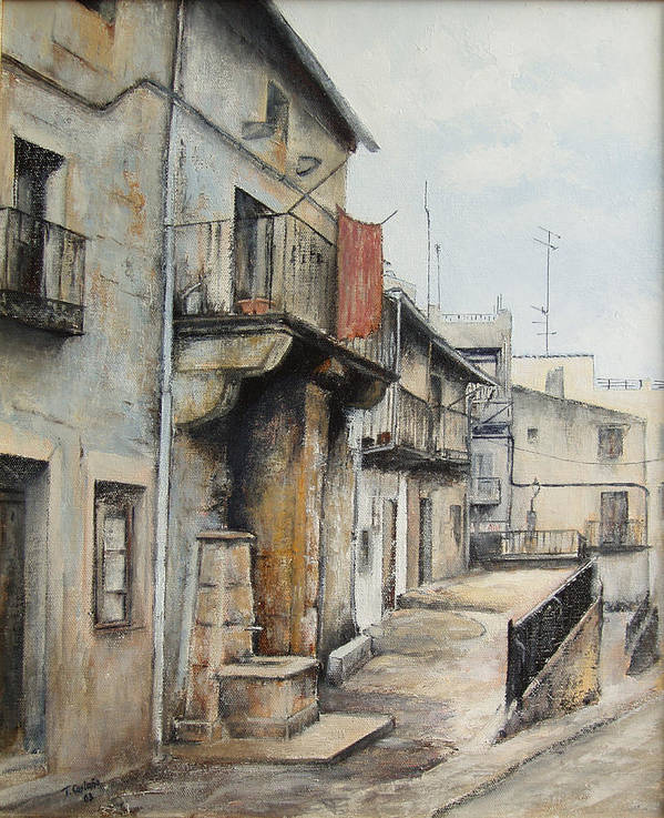 Fermoselle Zamora Spain Oil Painting City Scapes Urban Art Art Print featuring the painting Fermoselle by Tomas Castano