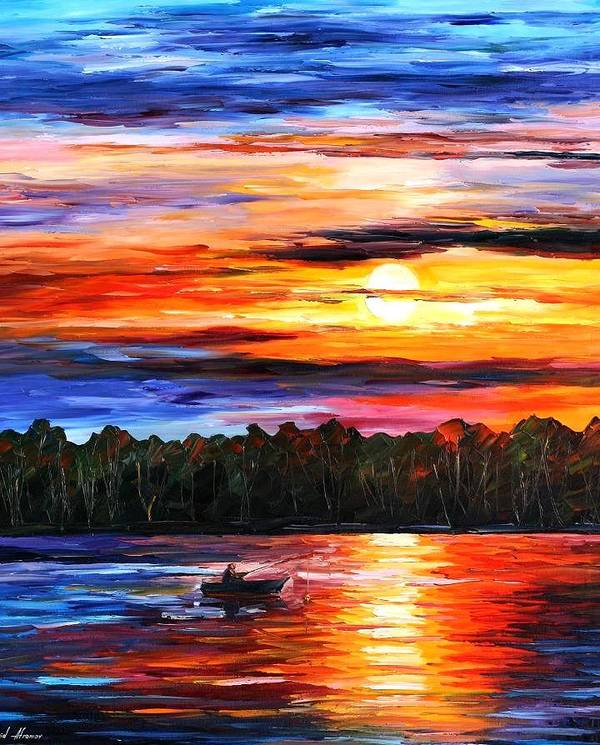 Seascape Art Print featuring the painting Fishing By The Sunset by Leonid Afremov