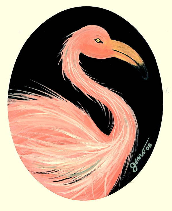 Flamingo Art Print featuring the painting Flamingo Deco by Helen Gerro