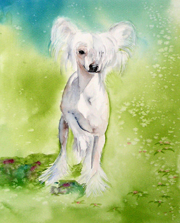 Canine Art Print featuring the painting Flower by Gina Hall