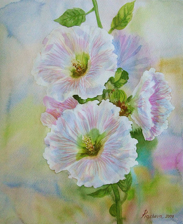 Flower Art Print featuring the painting Flower In Summer. by Natalia Piacheva