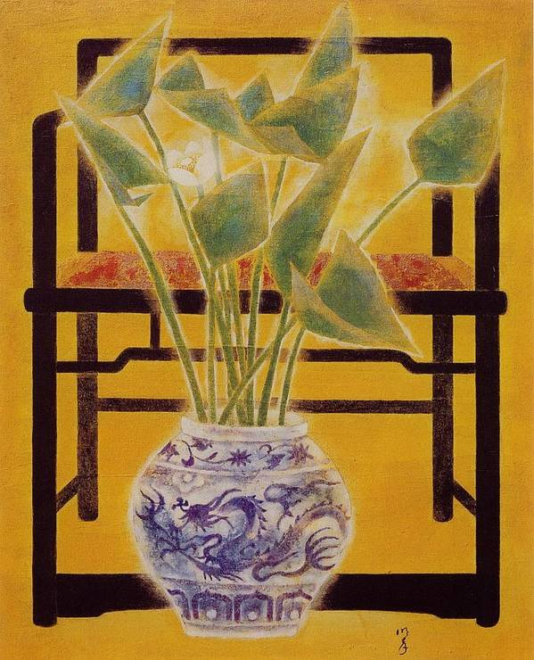 Acrylic Painting Art Print featuring the painting Flowers In Vase by Minxiao Liu