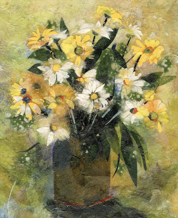 Limited Edition Prints Art Print featuring the painting Flowers In White And Yellow by Nira Schwartz