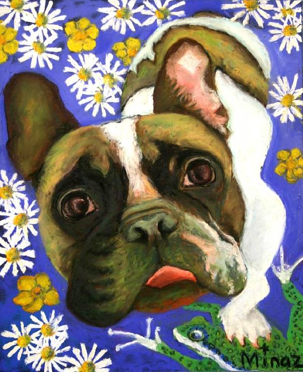 Pet Portrait Art Print featuring the painting Frenchie Plays With Frogs by Minaz Jantz