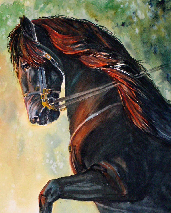 Equine Art Print featuring the painting Friesian Sunset by Gina Hall