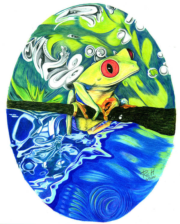 Frog Art Print featuring the drawing Froggy by James Hammons