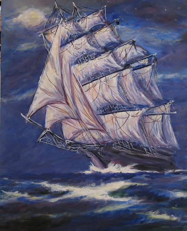 Sailing Ship Art Print featuring the painting Full Sails Under Full Moon by Thomas Restifo