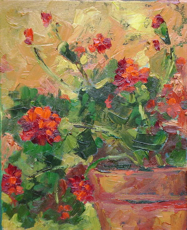 Geraniums Art Print featuring the painting Geraniums II by Ginger Concepcion
