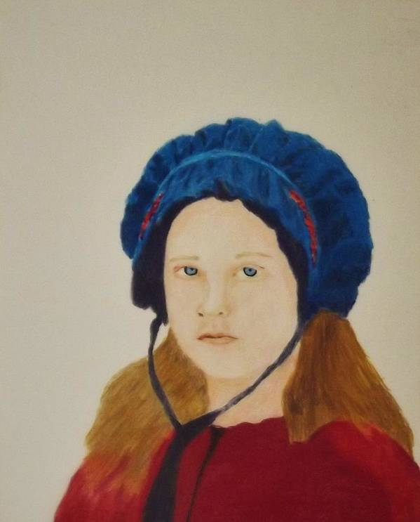 Portrait Art Print featuring the drawing Girl In The Blue Bonnet by Portraits by Andrew Dorsch