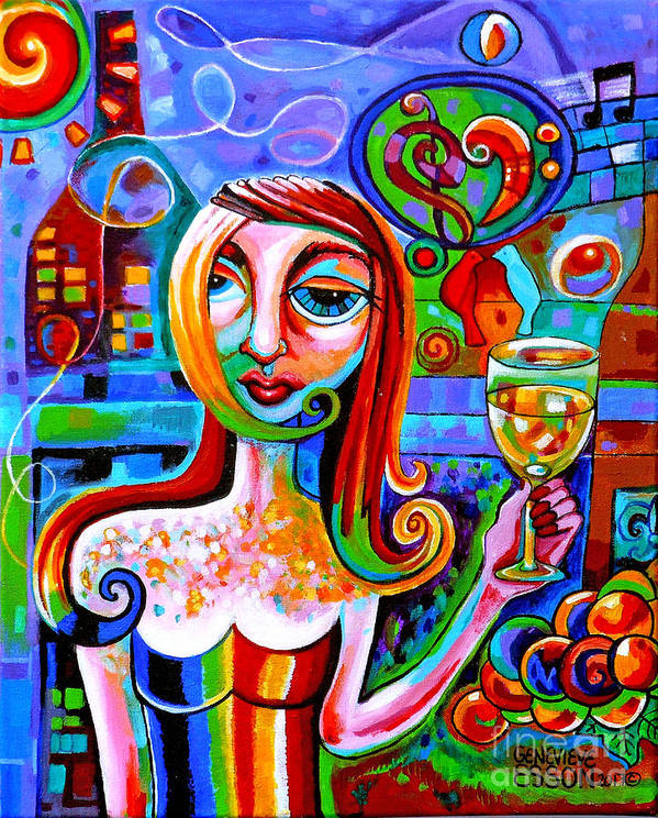 Wine Art Print featuring the painting Girl With Glass Of Chardonnay by Genevieve Esson