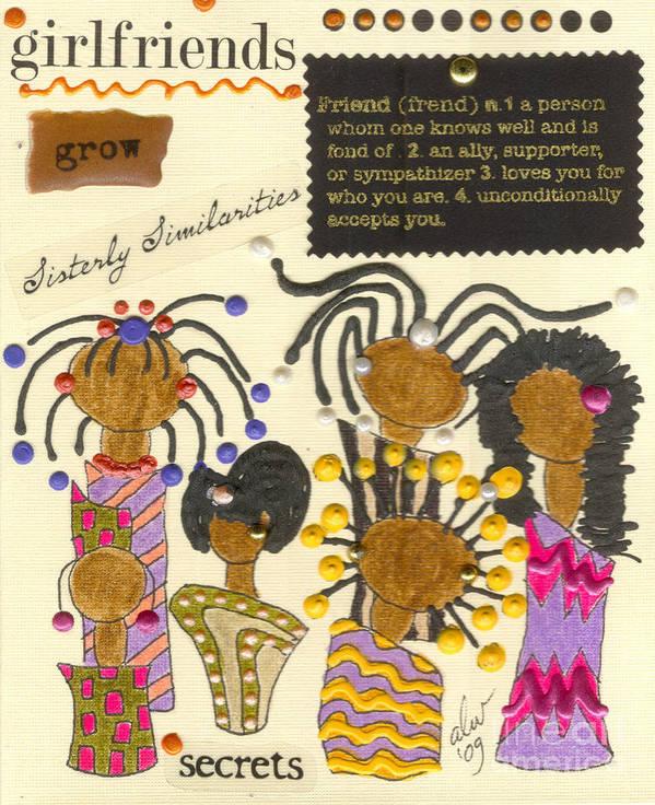 Understanding Art Print featuring the mixed media Girlfriends by Angela L Walker