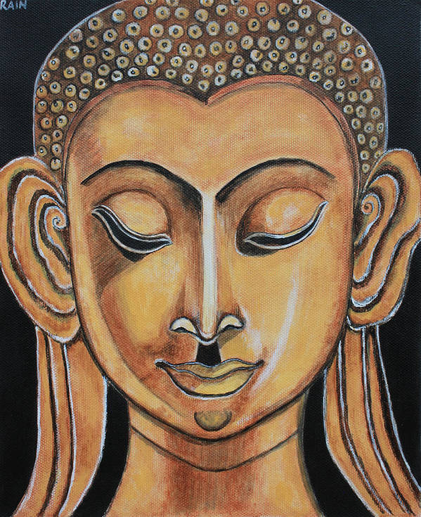 Paintings Art Print featuring the painting Golden Buddha by Rain Ririn