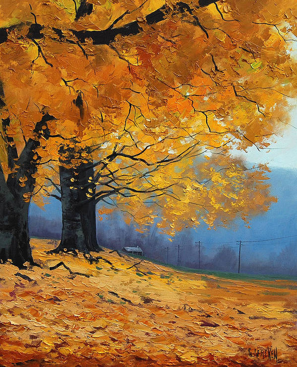 Fall Art Print featuring the painting Golden Leaves by Graham Gercken