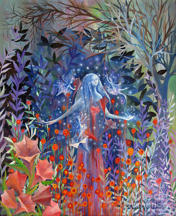 Forest Art Print featuring the painting Guidance by Manami Lingerfelt
