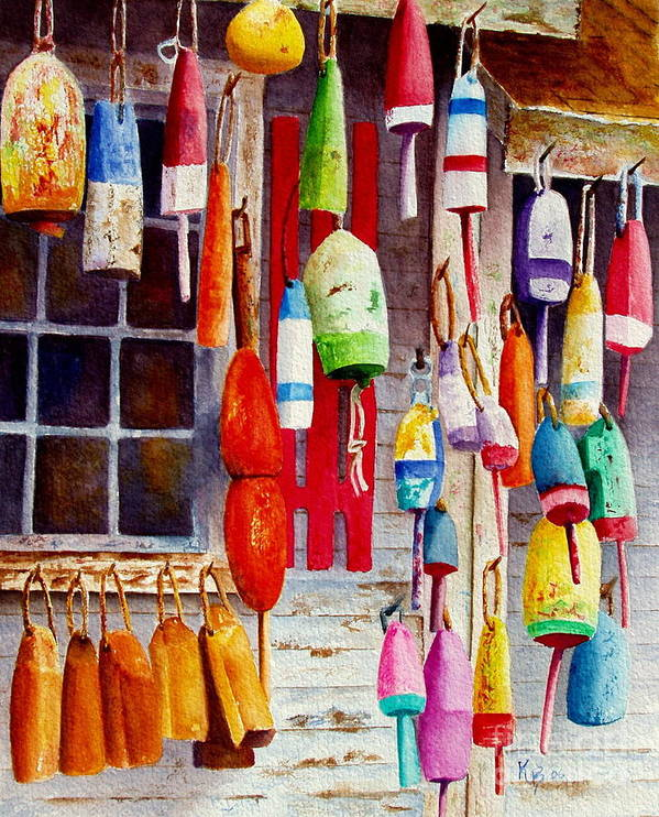 Lobster Art Print featuring the painting Hanging Around by Karen Fleschler