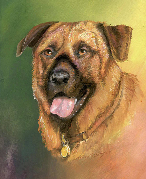 Dog Art Print featuring the painting Happy Dog by Sherry Shipley