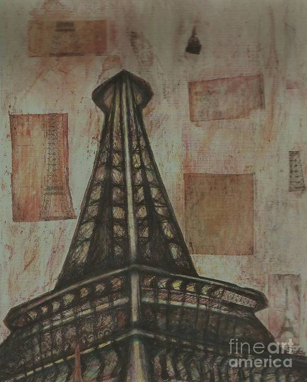 Structures Art Print featuring the painting Iffel Tower by Sidra Myers
