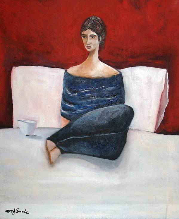 Girl Art Print featuring the painting In My Bed by Niki Sands