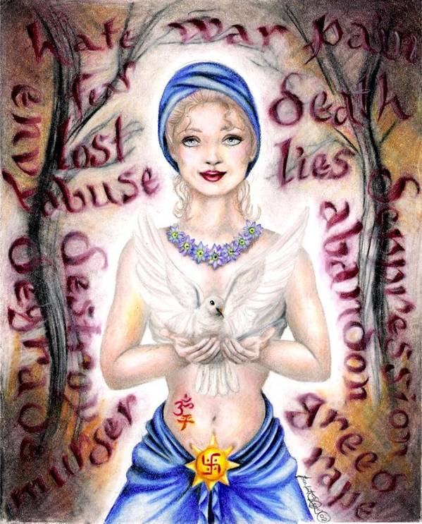 Peace Project Art Print featuring the drawing Inner Peace by Scarlett Royal
