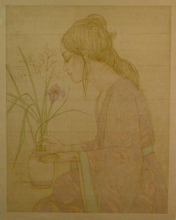 Female Art Print featuring the painting Iris by Gary Kaemmer