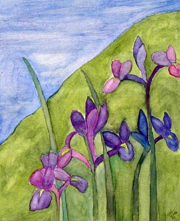 Flowers Art Print featuring the painting Iris Meadow by Margie Byrne