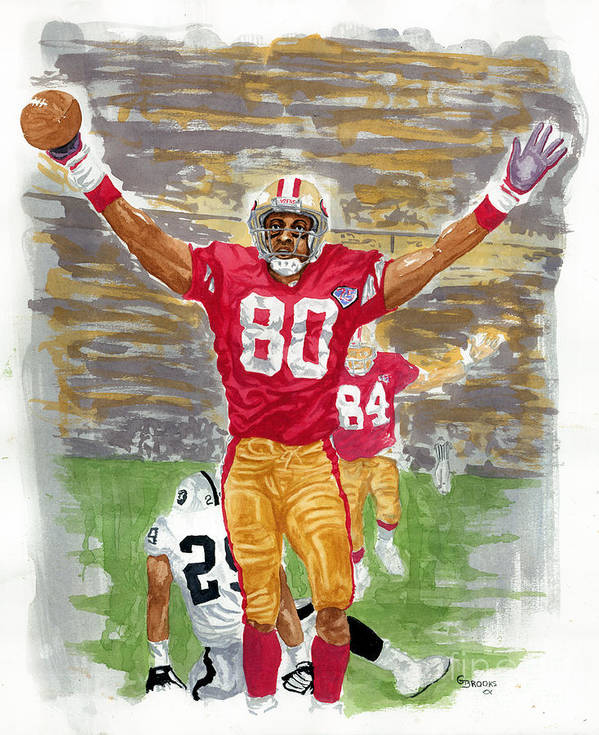 Jerry Rice Art Print featuring the painting Jerry Rice The Greatest by George Brooks