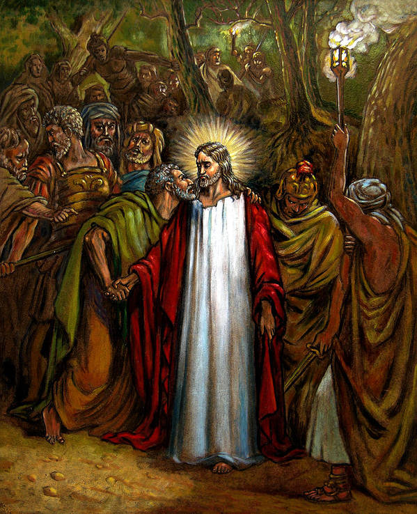 Jesus Art Print featuring the painting Jesus Betrayed by John Lautermilch