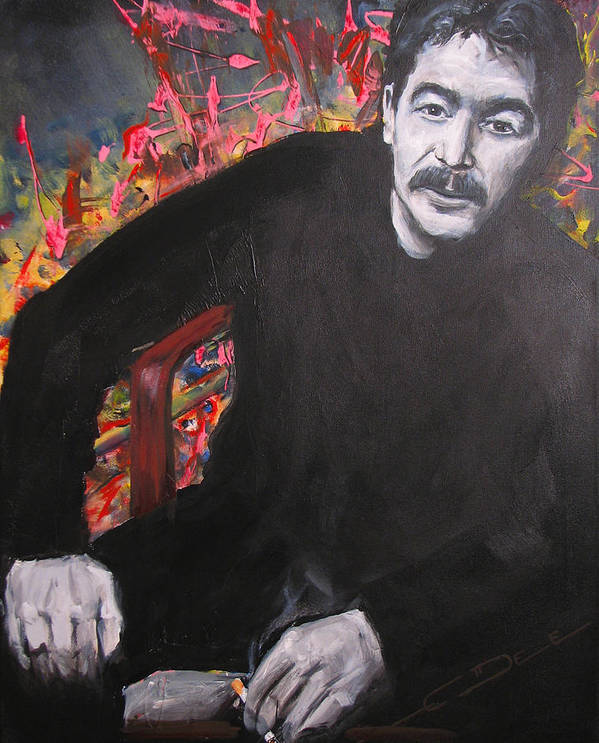 Johnny Cash Art Print featuring the painting John Prine - Colors by Eric Dee
