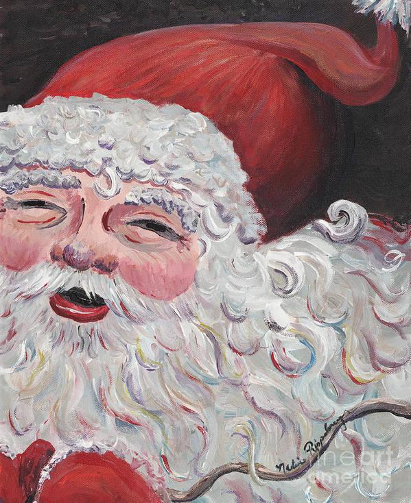 Santa Art Print featuring the painting Jolly Santa by Nadine Rippelmeyer