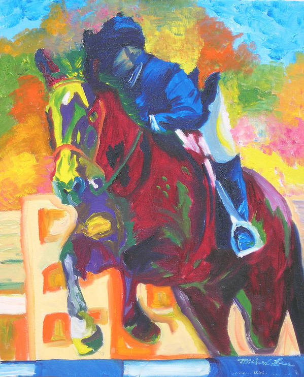 Horse Jumping Art Print featuring the painting Jump Off by Michael Lee