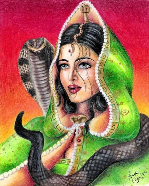 Woman Art Print featuring the drawing King Cobra by Scarlett Royal