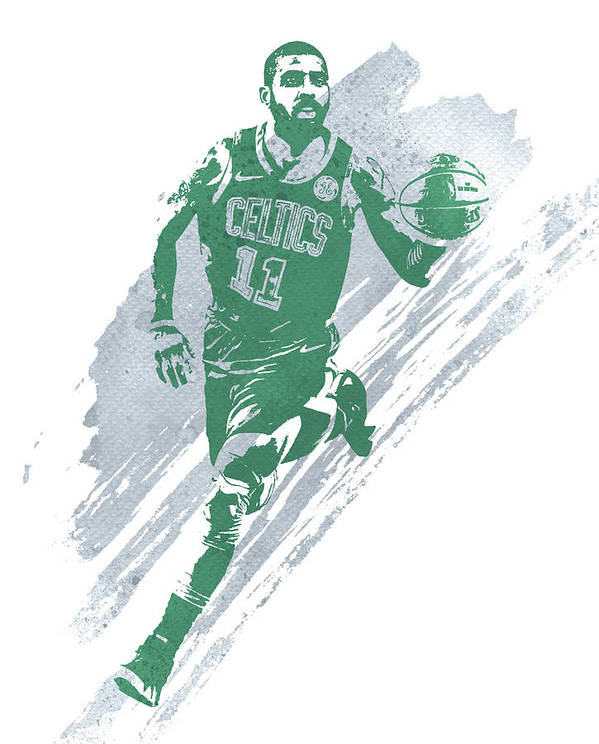 Kyrie Irving Art Print featuring the mixed media Kyrie Irving Boston Celtics Water Color Art 4 by Joe Hamilton