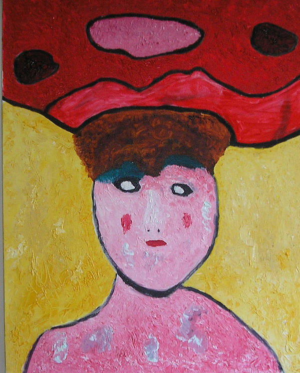 Hats Art Print featuring the painting Lady In Red by Harris Gulko