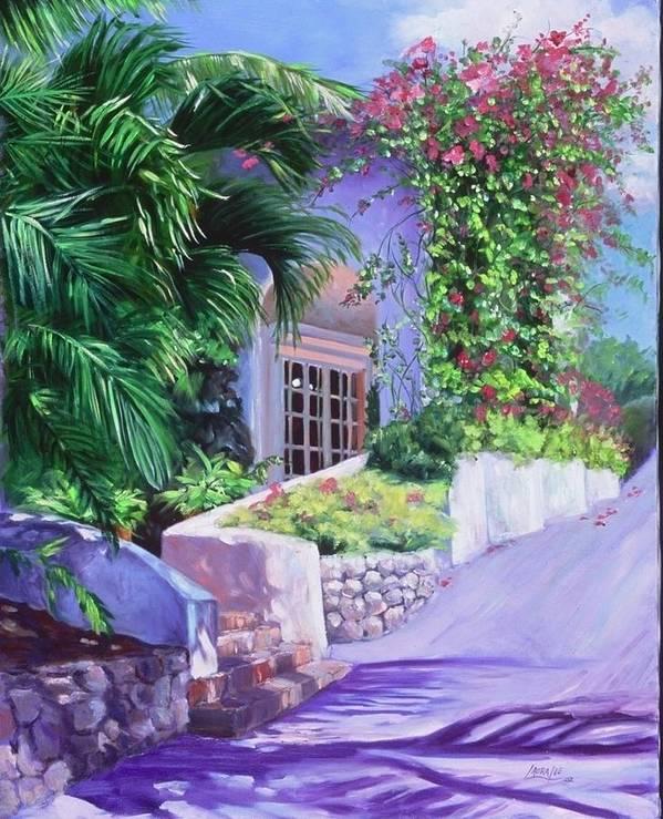 Landscape Art Print featuring the painting Lasamana by Laura Lee Zanghetti