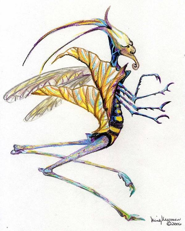 Insect Art Print featuring the drawing Leaf Hopper by Mindy Newman