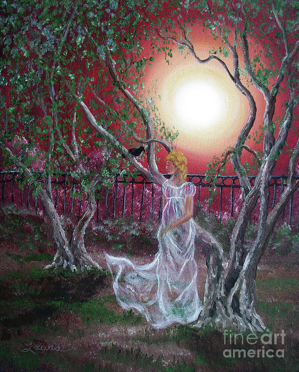 Supernatural Art Print featuring the painting Lenore By An Olive Tree by Laura Iverson