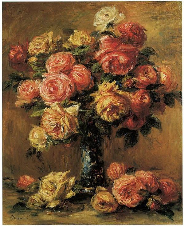 Pierre-auguste Renoir Art Print featuring the painting Les Roses Dans Un Vase by Pierre-Auguste Renoir