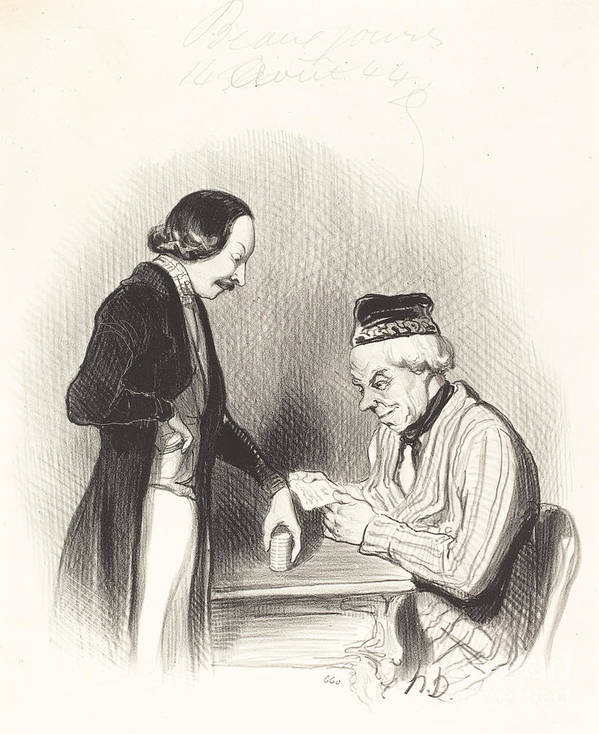 Art Print featuring the drawing L'escompte D'un Billet by Honor? Daumier