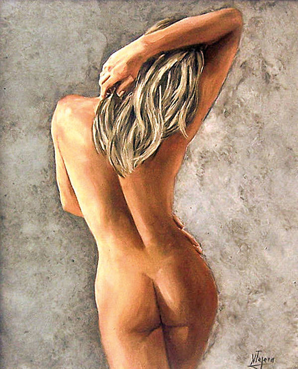 Portrait Art Print featuring the painting Light And Nudity by Natalia Tejera