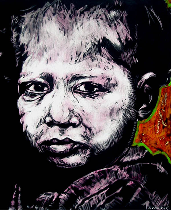 Art Print featuring the mixed media Little Rosita by Chester Elmore