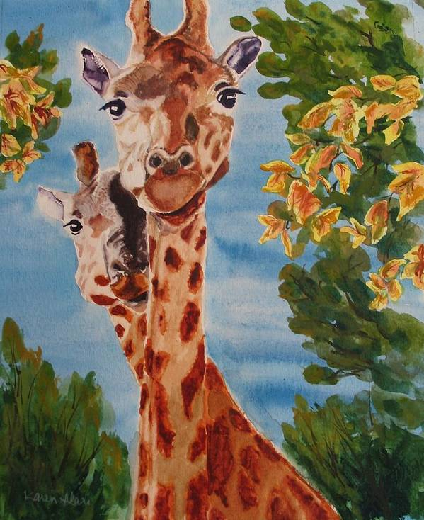 Giraffes Art Print featuring the painting Lookin Back by Karen Ilari